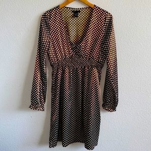 BCBG MAXAZRIA BROWN POLKA DOT DRESS SIZE LARGE